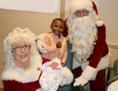 Santa and Mrs. Claus with youngest patients